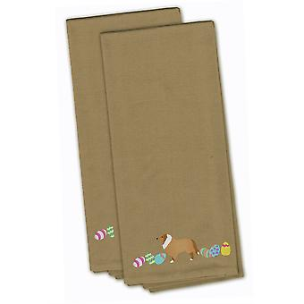 Collie Easter Tan Embroidered Kitchen Towel Set of 2