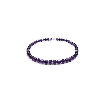 Collier Femme ras du cou en Perles Améthyste Violet et Argent 925