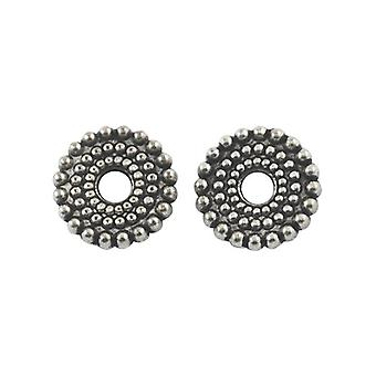 Packet 30 x Antique Silver Tibetan 10mm Donut Spacer Beads HA17365