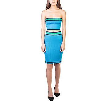 Prada Women's Knitted Striped Tube Top Skirt Set Aqua Blue