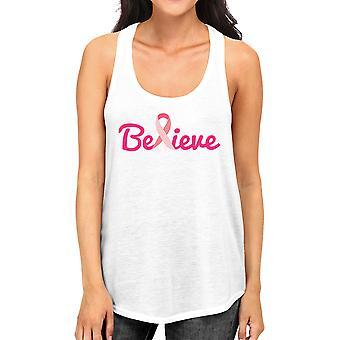 Believe Breast Cancer Womens Racerback Tank Top Cancer Awareness