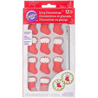 Royal Icing Decorations W/Food Writer 13/Pkg-Stockings