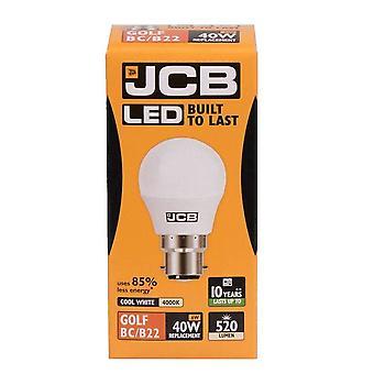 1 X JCB LED 6w = 40w BC/B22 Golf Ball Żarówki bagnet Cap 520lm Cool biały 4000k bez ściemniania [Klasa energetyczna A +]