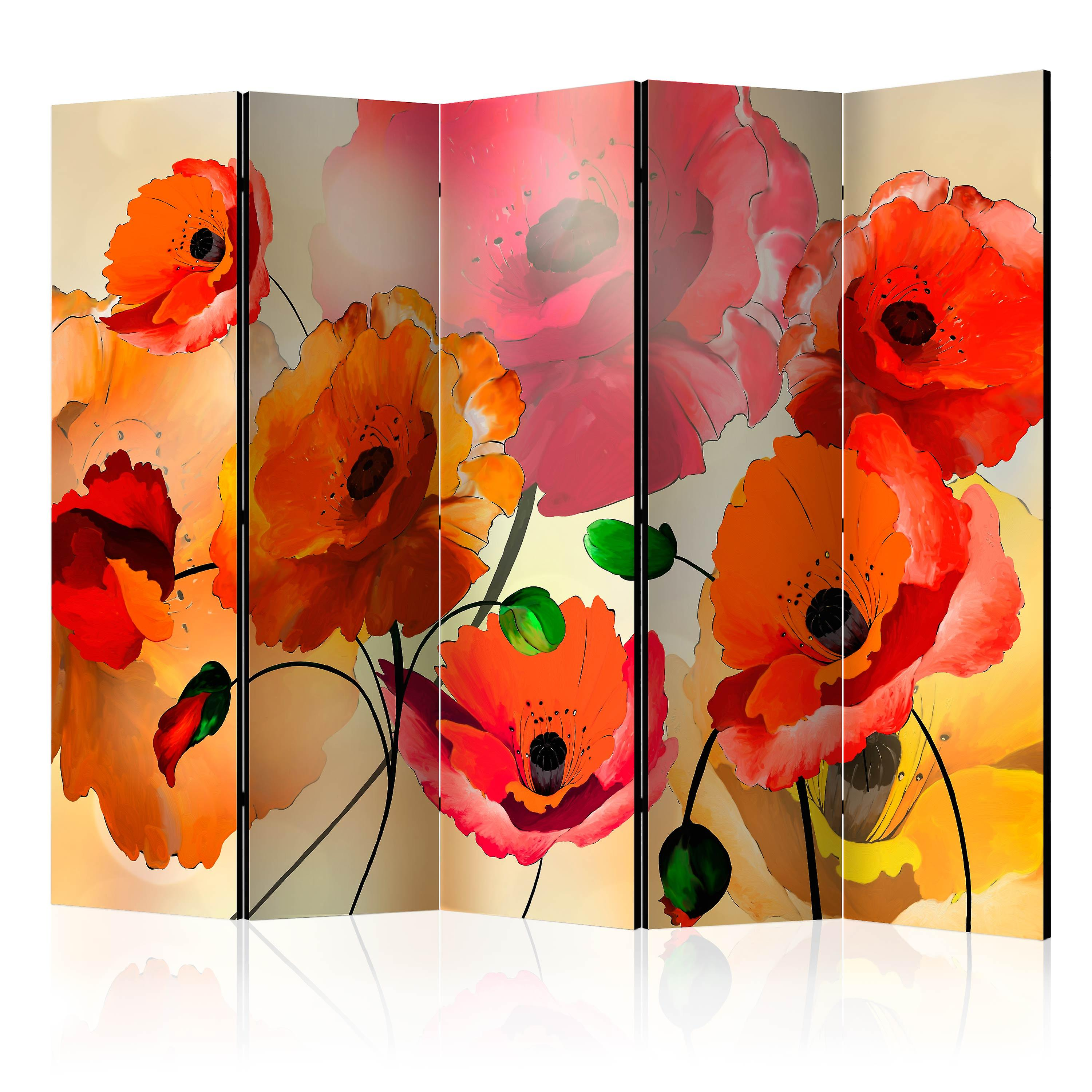 Paravent 5 volets - velours Poppies II [Room Dividers]