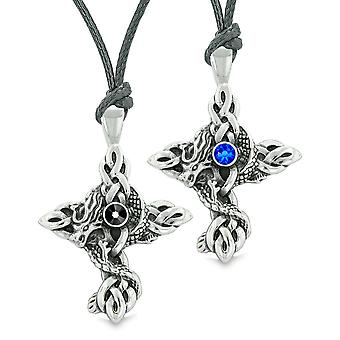 Dragon Celtic knob brandsikring på tværs af amuletter kærlighed par eller bedste venner blå sort halskæde