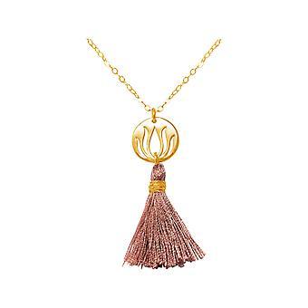 Gemshine - women's YOGA - 45 cm - halsketting - hanger - 925 zilver - verguld - lotusbloem - kwast - rose-