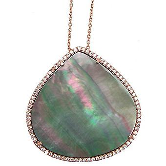 Natural green pearl rose gold plated silver necklace