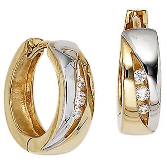 Creolen Klappcreolen 333 Gold Gelbgold teilrhodiniert 6 Zirkonia Ohrringe gold Ohrhänger