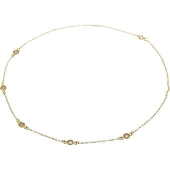 Ladies - necklace - 925 sterling silver - gold plated - Rose Quartz - 52 cm