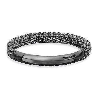 banda di argento lucidato modellato dalle cupole di 2,5 mm rutenio placcatura impilabile espressioni nero-placcato anello a cupola - Ri
