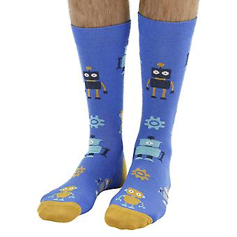 Robot soft bamboo organic crew socks in blue | By seriouslysillysocks