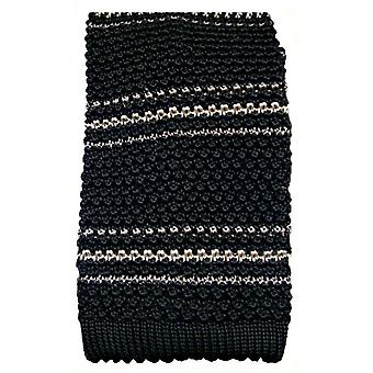 KJ Beckett Silk Striped  Knitted Tie - Black/White/Grey