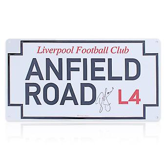 John Barnes Signed Anfield Road Street Sign