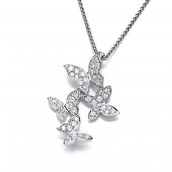 Cavendish franske Cubic Zirconia og Sterling sølv fire sommerfugle vedhæng uden kæde