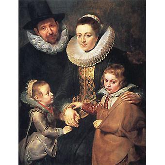 Fan Brueghel the Elder and his Family,Peter Paul Rubens, 50x40 cm