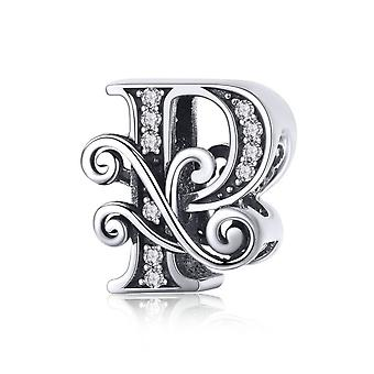 Sterling silver alphabet charm letter P with transparent zirconia stones