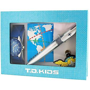 Time Design Boys Pilot Design Watch, Badge, Pen & Note Book Gift Set TDX07135S