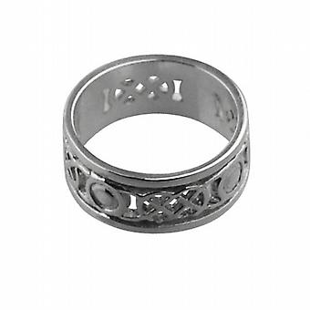 9ct White Gold 8mm pierced Celtic Wedding Ring Size L