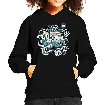 Camper Van Cartoon Character Kid's Hooded Sweatshirt