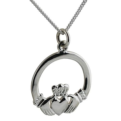 Silver 22mm Claddagh pendant with Curb chain