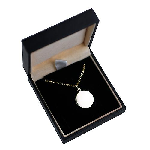 9ct Gold 16mm round The Lords Prayer Pendant disc with belcher Chain 16 inches Only Suitable for Children