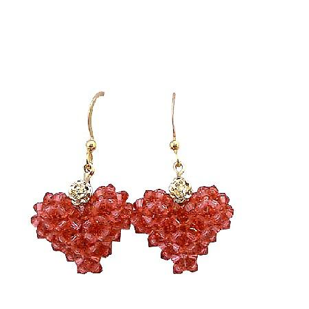 Padparascha Swarovski Crystals Gold Plated 22k Puffy Heart Earrings
