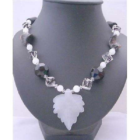 Fancy Glass Beads Black White Murano Glass Twisted Leaf Long Necklace