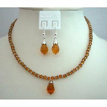 Bridal Bridesmaid Fine Jewelry Swarovski Topaz Crystals Necklace Set
