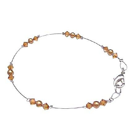 Swarovski Copper Pearls & Copper Crystals Lobster Clasp Wire Bracelet