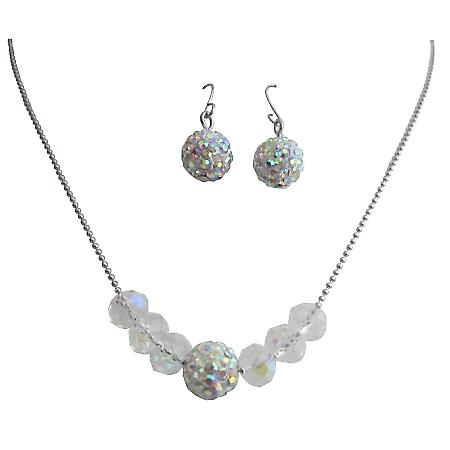 Handmade Wedding Jewelry AB Pave Ball Crystals Set