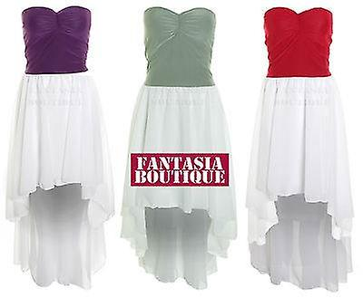 Womens Strapless Boobtube Padded Fishtail High Low Chiffon Contrast Ladies Dress