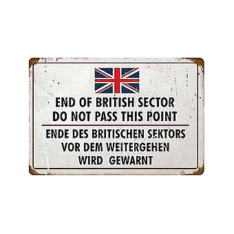 End Of British Sector Rusted Metal Sign 460Mm X 300Mm