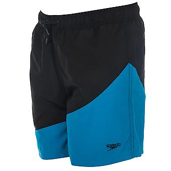 Junior Boys Speedo Colour Block 15 Swim Shorts In Black Blue-Ribbed Waistband-
