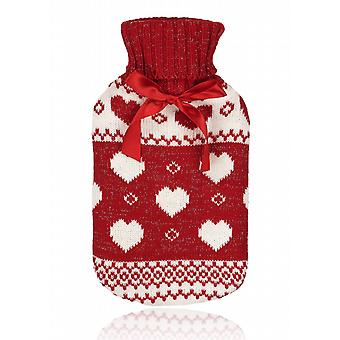 Red Lurex Fair Isle Lovehearts 750ml Hot Water Bottle