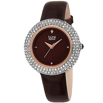 Burgi Women's Swarovski Crystal & Diamond Accented Silver & Fiery Red Leather Strap Watch BUR199BR