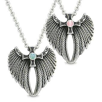 Angel Wings Celtic Magic Cross Love Couple or Best Friends Green Quartz Simulated Pink Cats Eye Necklaces