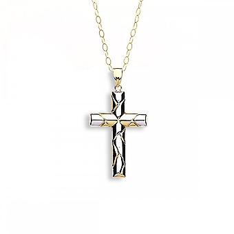 Eternity 9ct 2 Colour Gold Fancy Cross Pendant And 16'' Chain