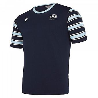 2019-2020 Ecosse Macron Rugby Leisure Polycotton T-Shirt (Marine)