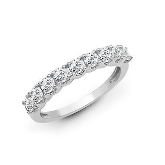 Jewelco London Solid 18ct White Gold 4 Claw Round G SI1 1ct Diamond 9 Stone Eternity Ring 3mm