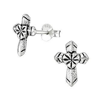 Cross - 925 Sterling Silver Plain Ear Studs - W38890X