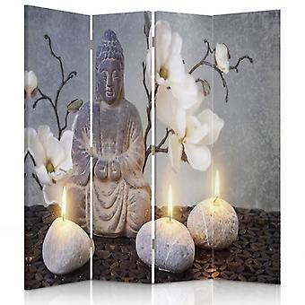 Room Divider, 4 Panels, Canvas, Buddha