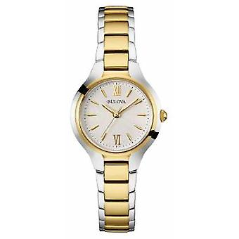 Bulova Womens Two Tone Strap White Dial 98W221 Watch