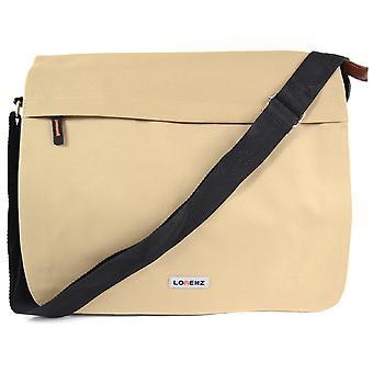 Stor duk stil Messenger / arbete väska med dubbelvikt lock och flera fickor (Khaki Sand)