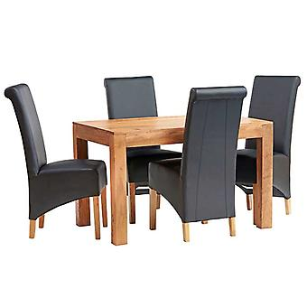 Phoenix Light Mango 4ft Dining Table Set With Leather Chairs