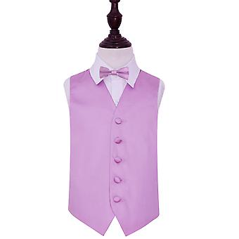 Boy's Lilac Plain Satin Wedding Waistcoat & Bow Tie Set