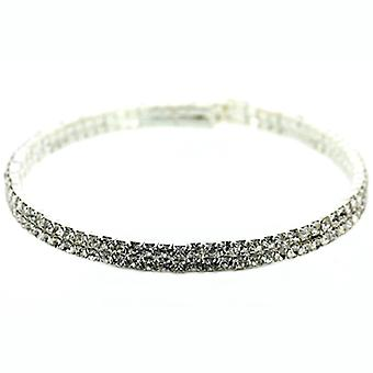 Double Row Silver & Diamante Crystal Choker Necklace