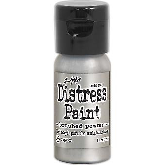 Distress Paint Flip Top 1oz-Brushed Pewter TDF-52968