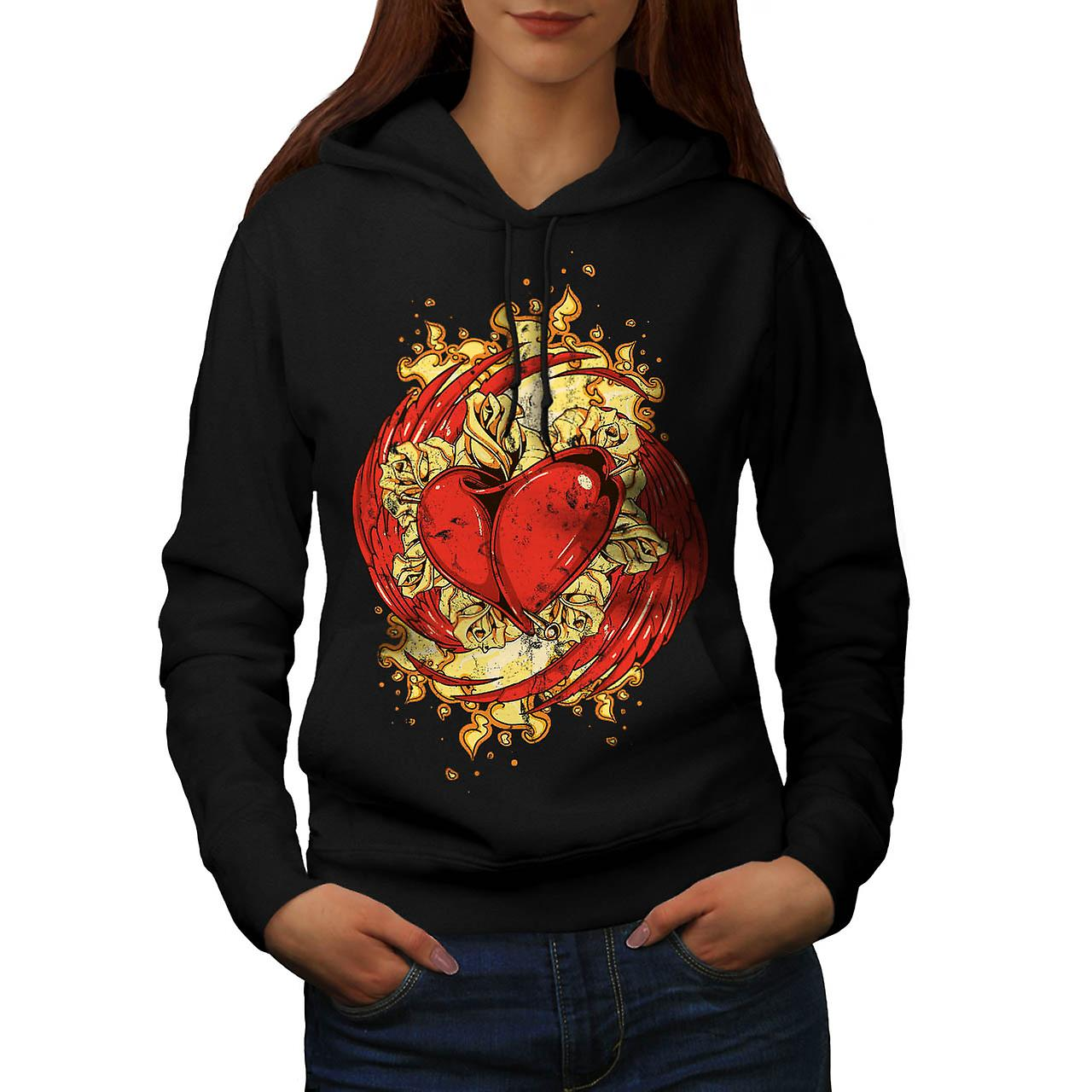 Love Heart Wing Lust Beat Organ Women Black Hoodie | Wellcoda