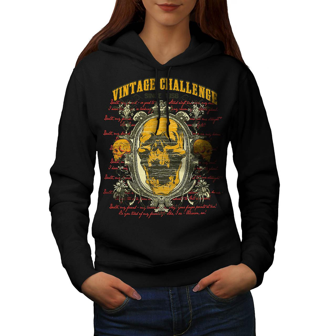 Vintage Challenge USA Skull Head Women Black Hoodie | Wellcoda