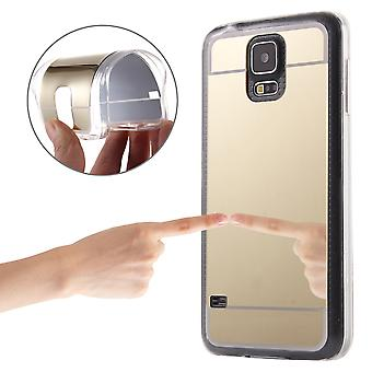 Mobile mirror mirror soft cover case protective case cover for Samsung Galaxy S5 / S5 neo gold